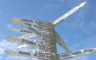 sign posts from new zealand