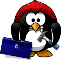 image of penguin holding a tool box