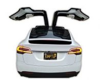 logo for pop up cbt photo of tesla model x with falcon doors fully extended